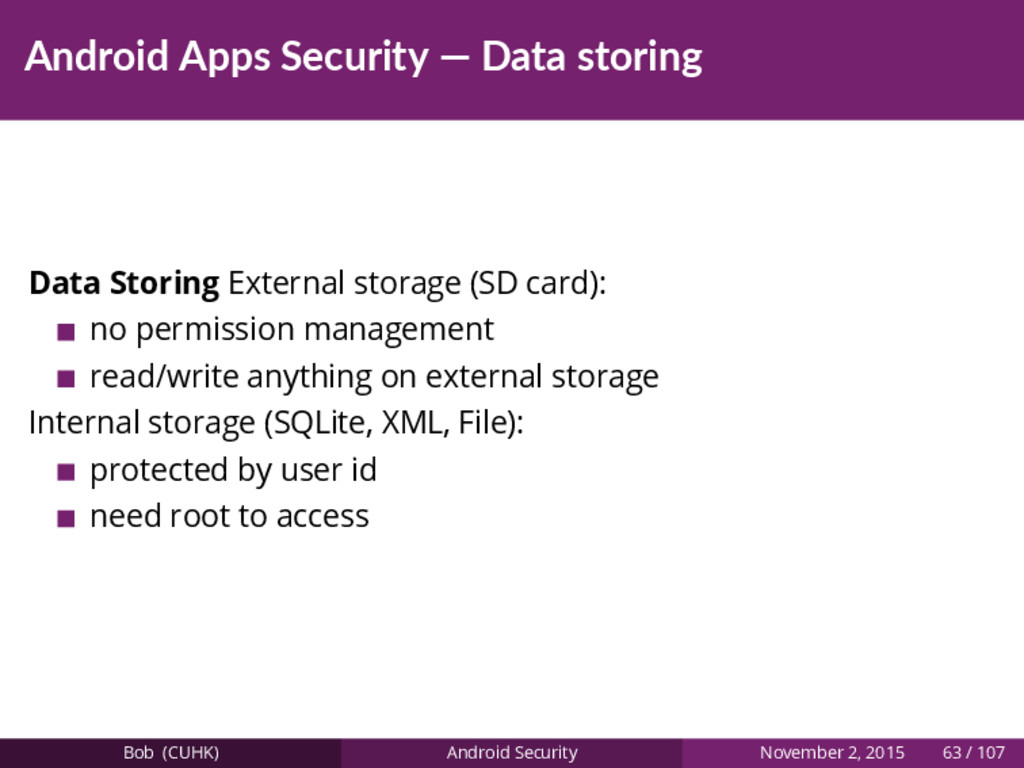 Android Apps Security — Data storing Data Stori...