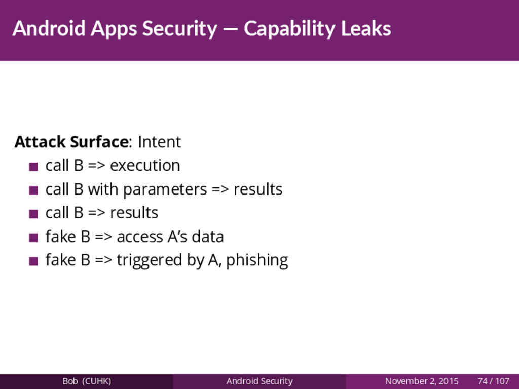 Android Apps Security — Capability Leaks Attack...