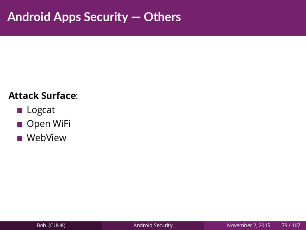 Android Apps Security — Others Attack Surface: ...