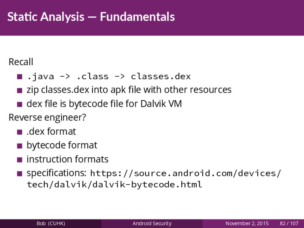 Sta c Analysis — Fundamentals Recall .java -> ....