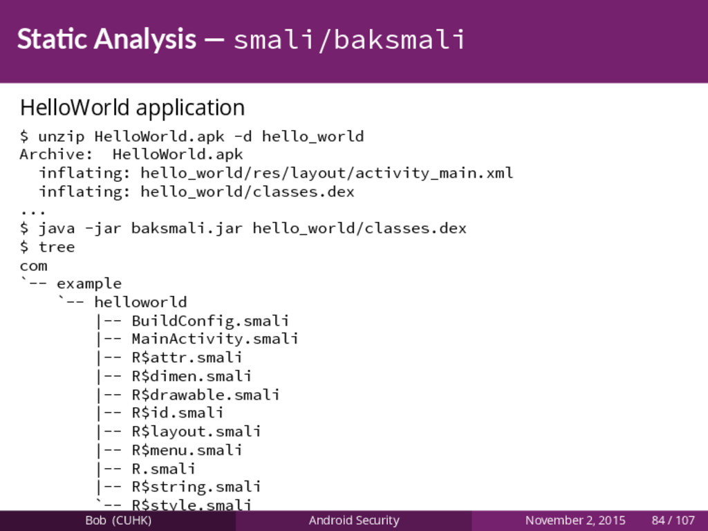 Sta c Analysis — smali/baksmali HelloWorld appl...