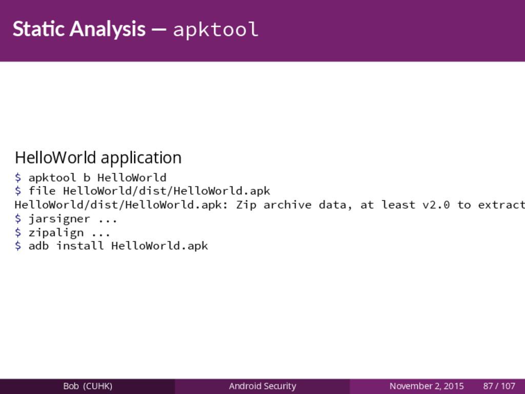 Sta c Analysis — apktool HelloWorld application...