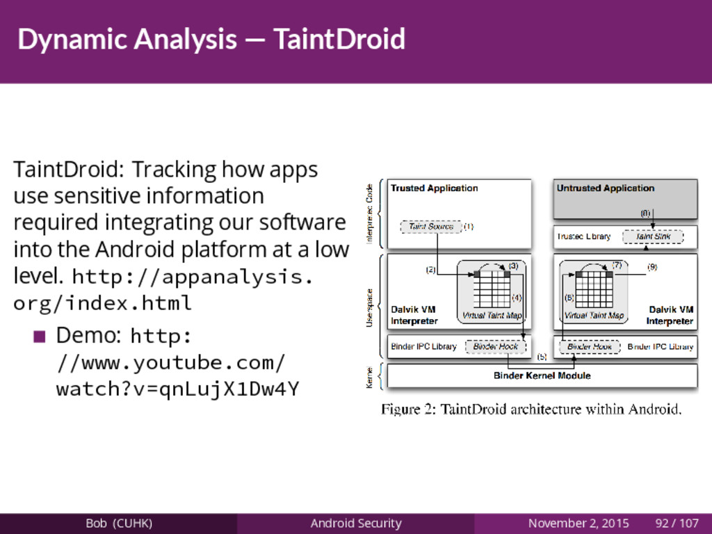 Dynamic Analysis — TaintDroid TaintDroid: Track...