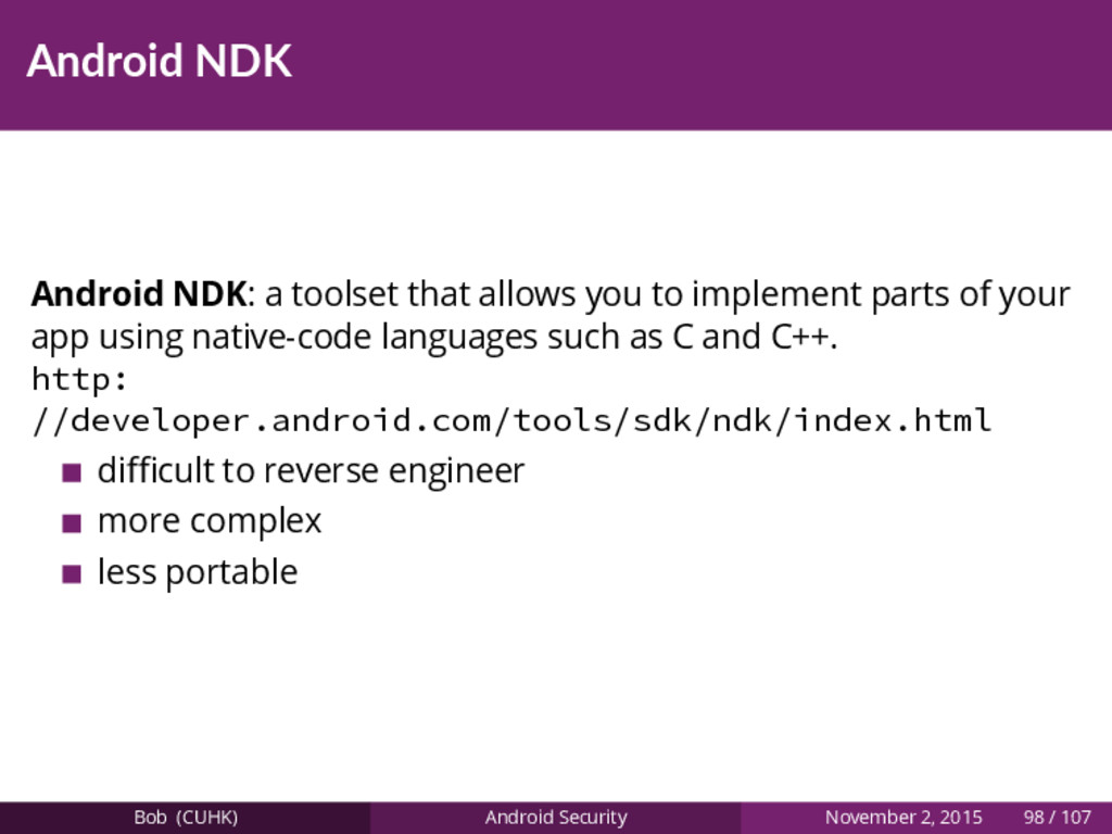 Android NDK Android NDK: a toolset that allows ...