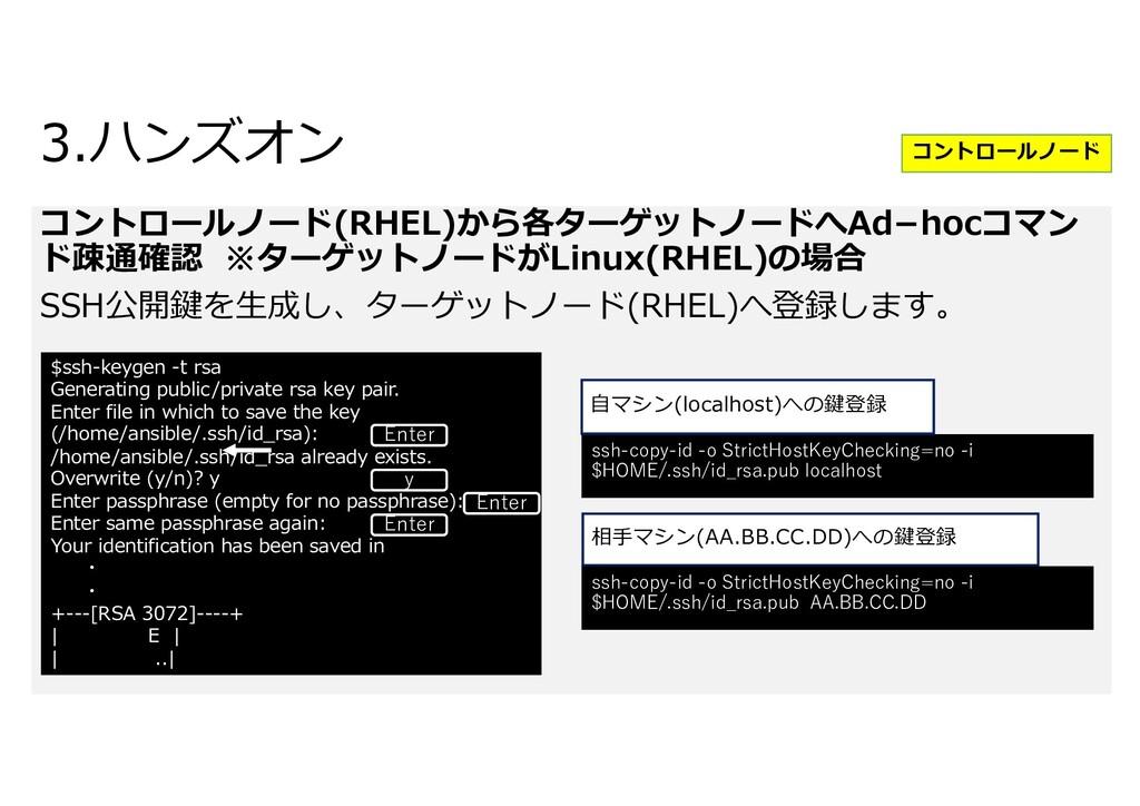 コントロールノード(RHEL)から各ターゲットノードへAdhocコマン ド疎通確認 ※ターゲ...