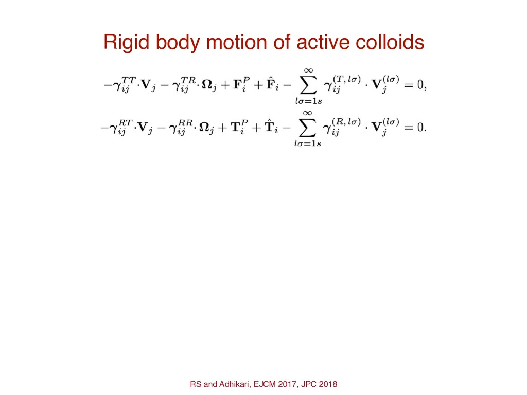 Rigid body motion of active colloids RS and Adh...
