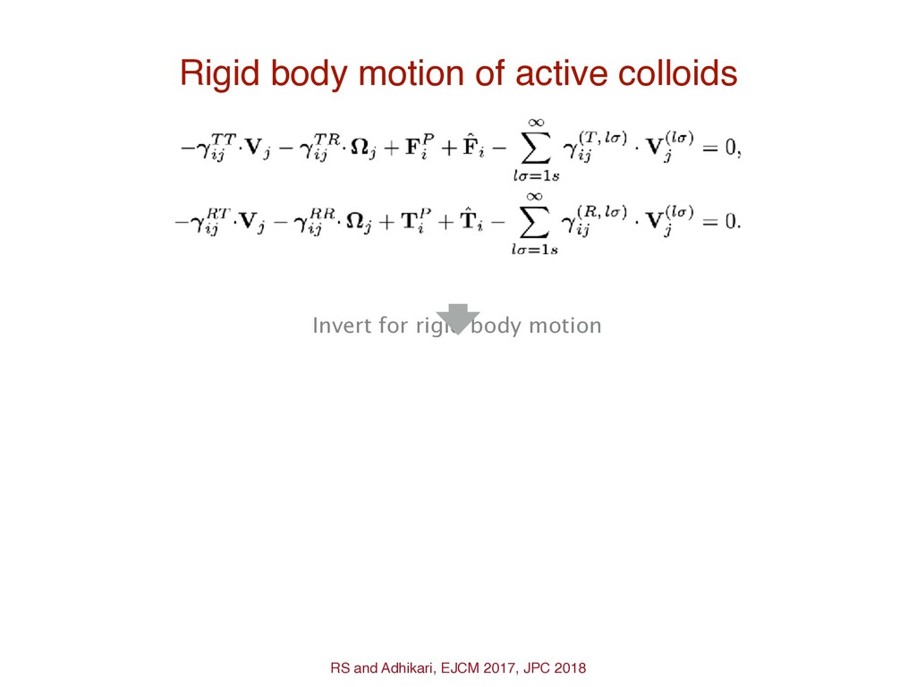 Rigid body motion of active colloids Invert for...