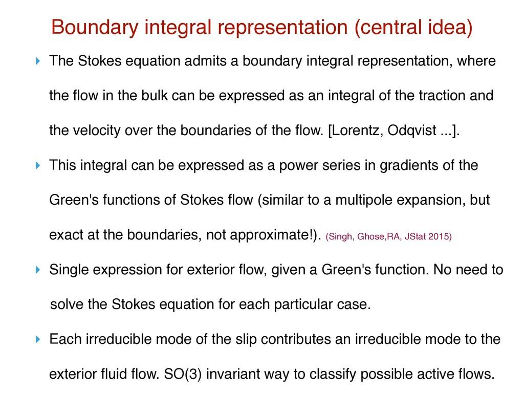 Boundary integral representation (central idea)...