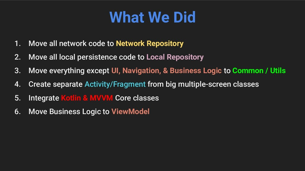 What We Did 1. Move all network code to Network...