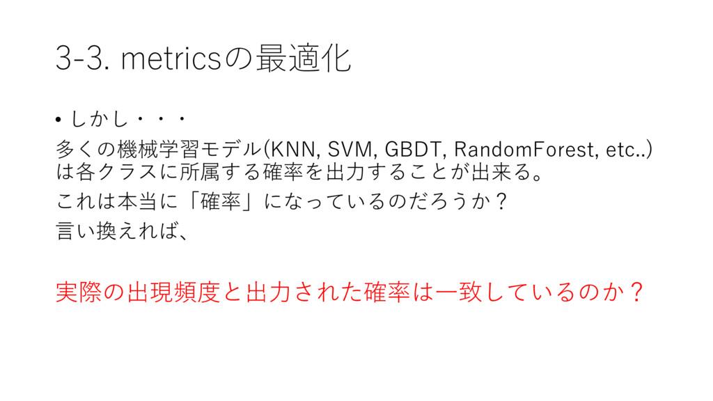3-3. metricsの最適化 • しかし・・・ 多くの機械学習モデル(KNN, SVM, ...