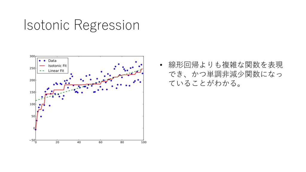Isotonic Regression • 線形回帰よりも複雑な関数を表現 でき、かつ単調⾮減...