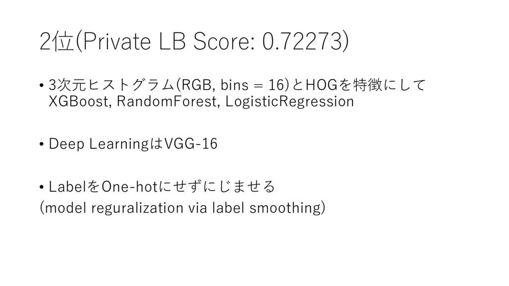 2位(Private LB Score: 0.72273) • 3次元ヒストグラム(RGB, ...