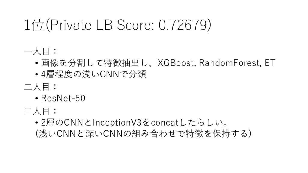 1位(Private LB Score: 0.72679) ⼀⼈⽬: • 画像を分割して特徴抽...