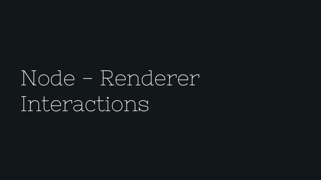 Node - Renderer Interactions