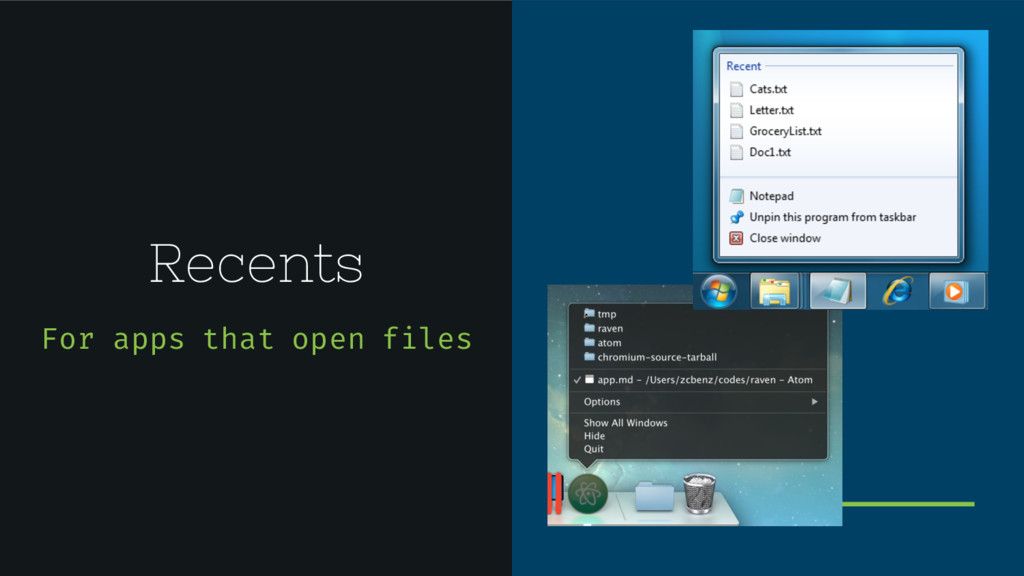 Recents For apps that open files