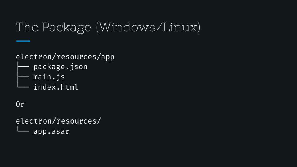 The Package (Windows/Linux) electron/resources/...