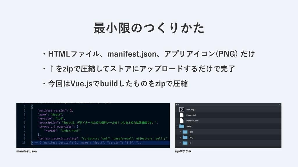・HTMLファイル、manifest.json、アプリアイコン(PNG) だけ  ・↑をzip...
