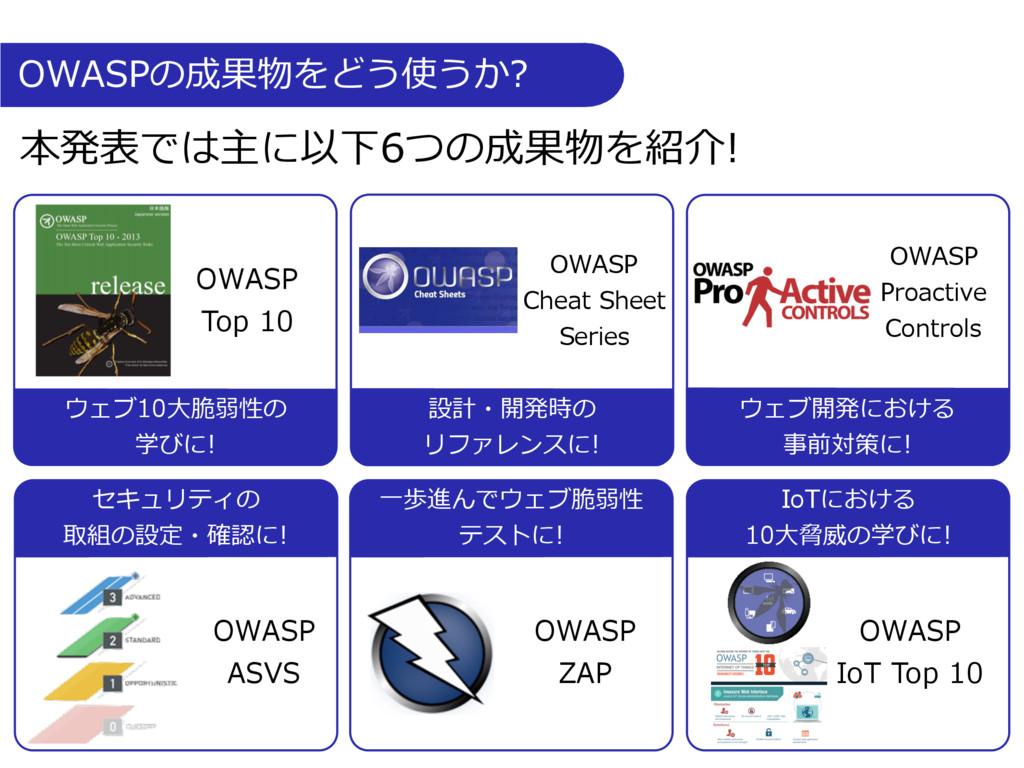 OWASPの成果物をどう使うか? ⼀歩進んでウェブ脆弱性 テストに! OWASP Top 10...