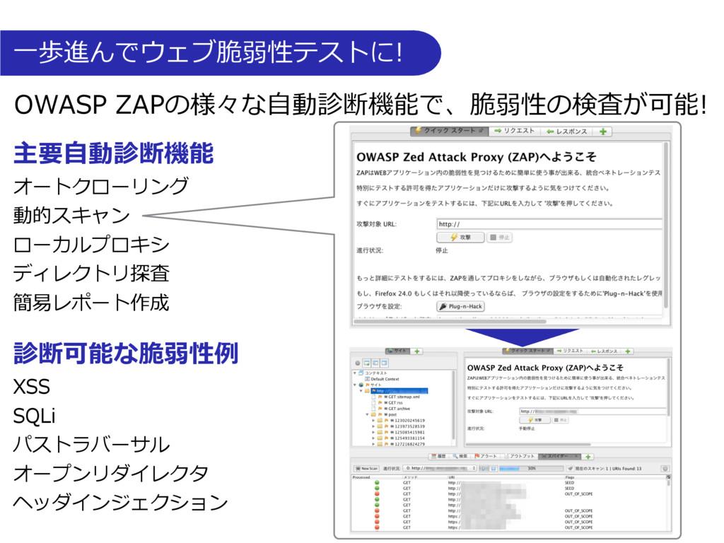 ⼀歩進んでウェブ脆弱性テストに! OWASP ZAPの様々な⾃動診断機能で、脆弱性の検査が可能...