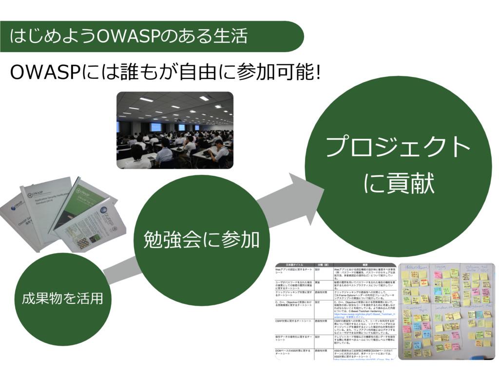 はじめようOWASPのある⽣活 成果物を活⽤ プロジェクト に貢献 勉強会に参加 OWASPに...