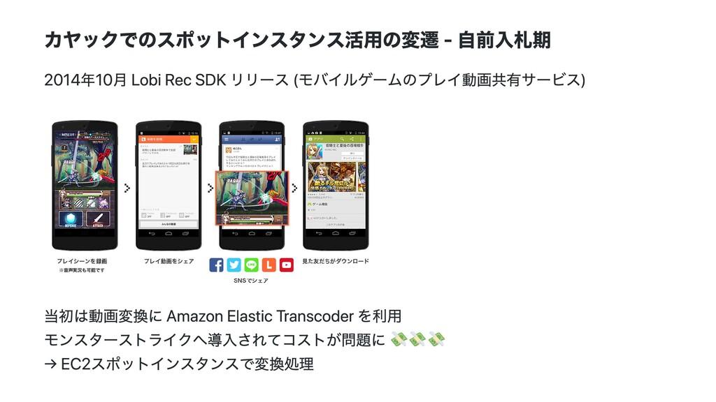 カヤックでのスポットインスタンス活⽤の変遷 - ⾃前⼊札期 2014年10⽉ Lobi Rec...