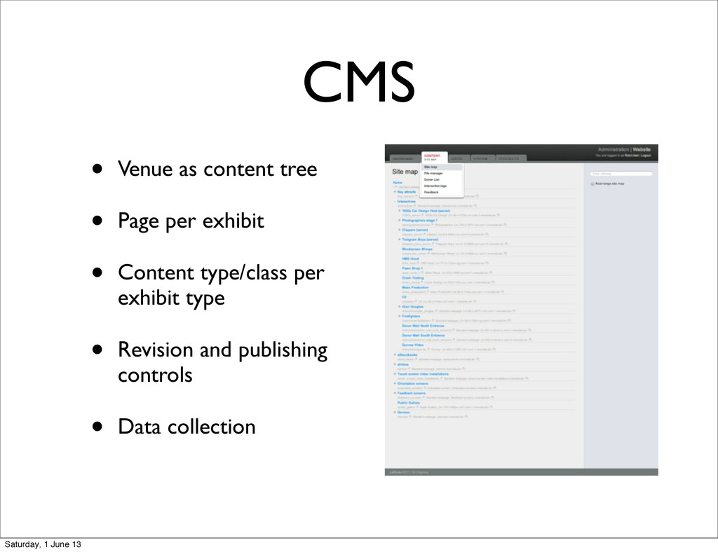 CMS • Venue as content tree • Page per exhibit ...