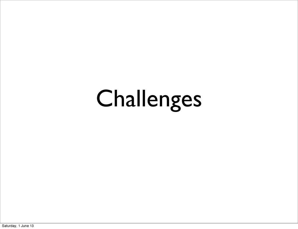 Challenges Saturday, 1 June 13