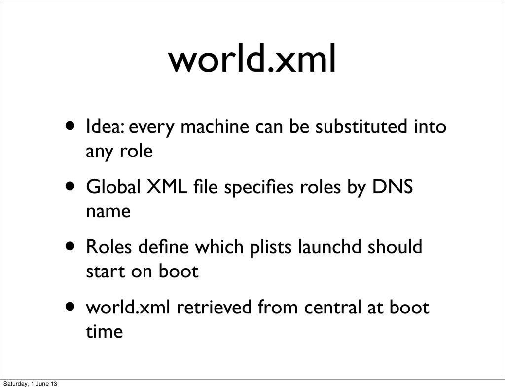world.xml • Idea: every machine can be substitu...