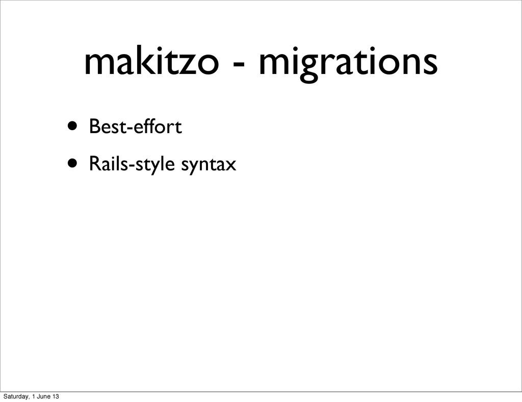 • Best-effort • Rails-style syntax makitzo - mi...