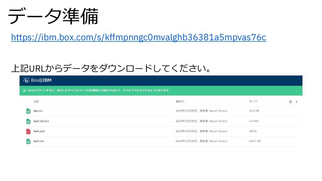 データ準備 https://ibm.box.com/s/kffmpnngc0mvalghb36...