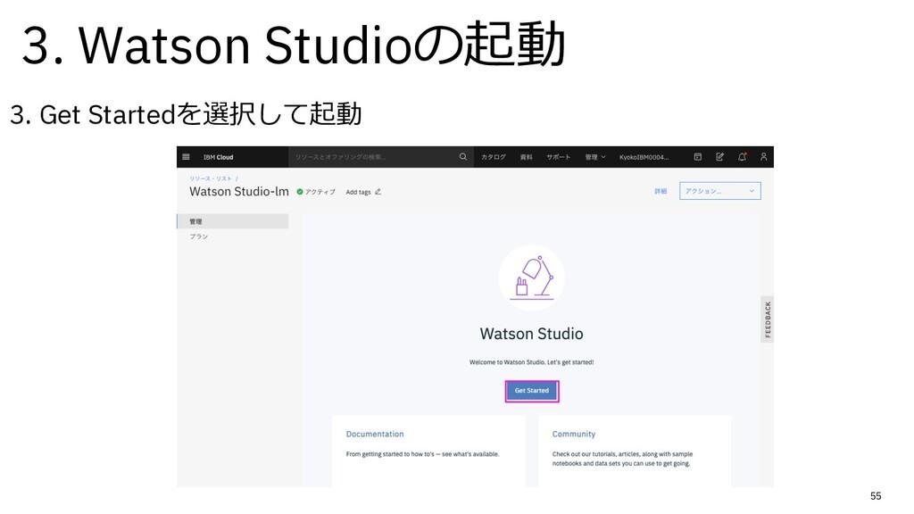 55 3. Get Startedを選択して起動 3. Watson Studioの起動