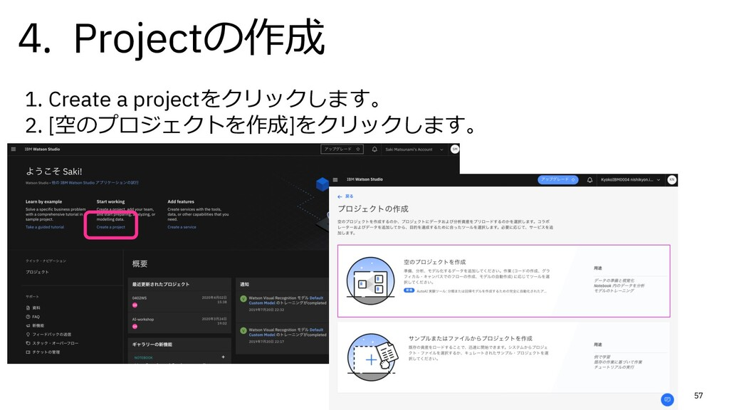 57 1. Create a projectをクリックします。 2. [空のプロジェクトを作成...