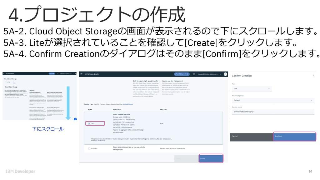 60 5A-2. Cloud Object Storageの画⾯が表⽰されるので下にスクロール...