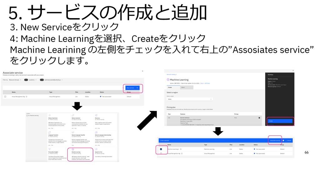 3. New Serviceをクリック 4: Machine Learningを選択、Crea...