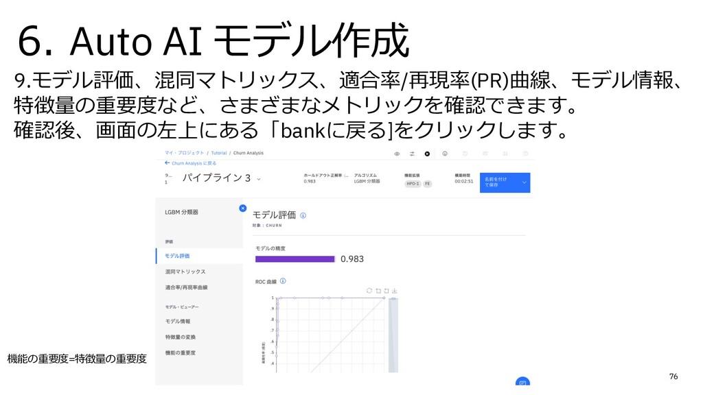 6. Auto AI モデル作成 9.モデル評価、混同マトリックス、適合率/再現率(PR)曲線...
