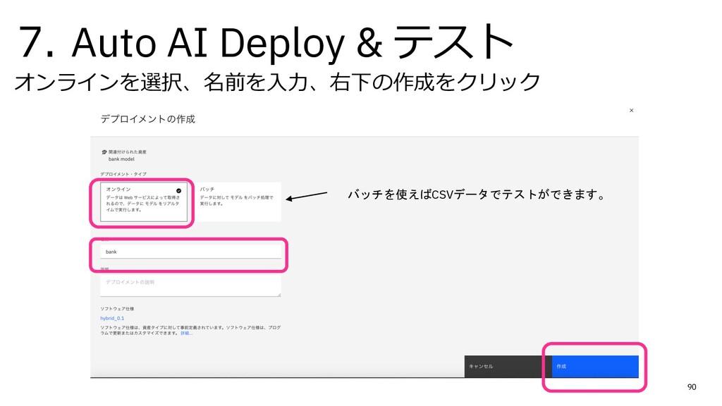 7. Auto AI Deploy & テスト オンラインを選択、名前を⼊⼒、右下の作成をクリ...