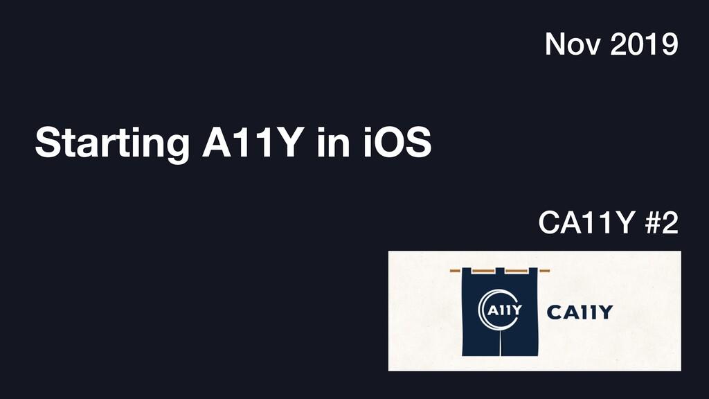 Starting A11Y in iOS Nov 2019 CA11Y #2