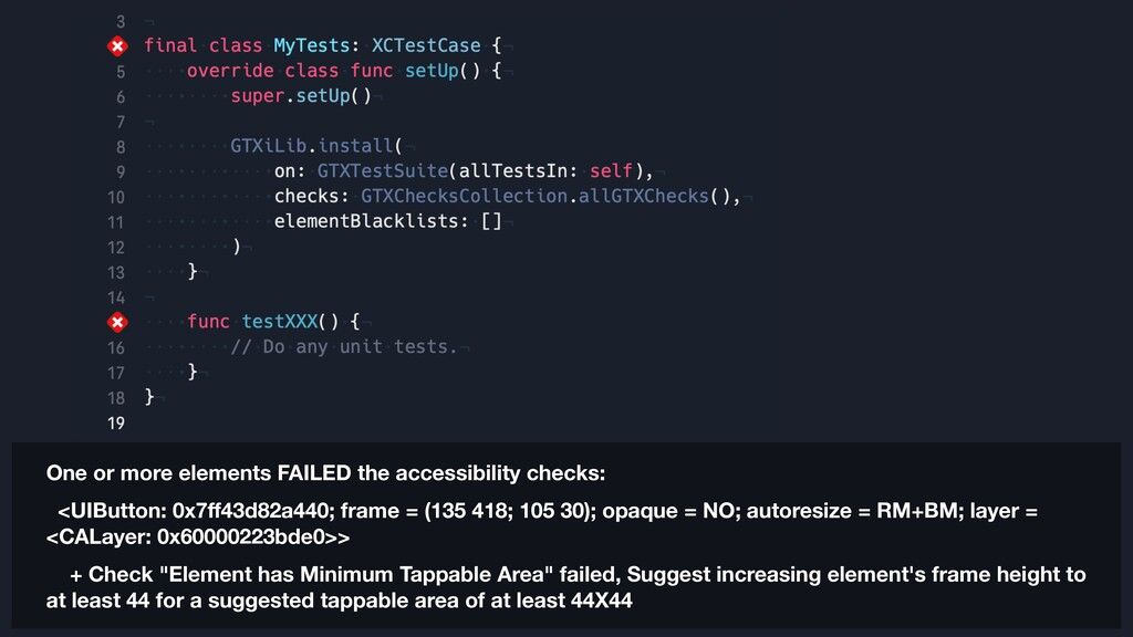 One or more elements FAILED the accessibility c...