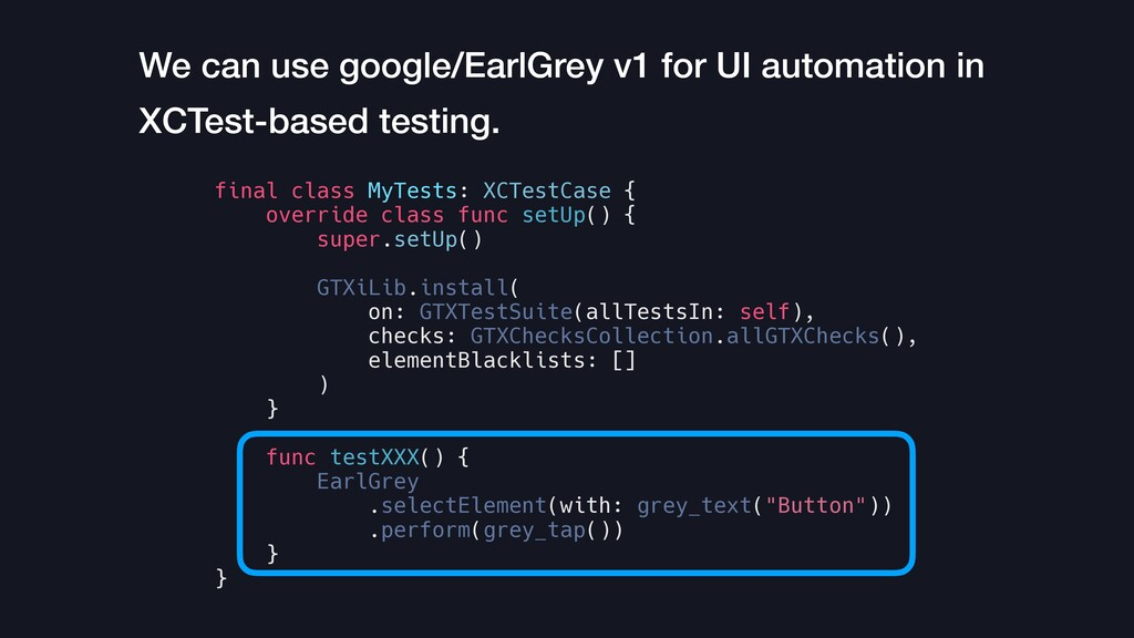 We can use google/EarlGrey v1 for UI automation...