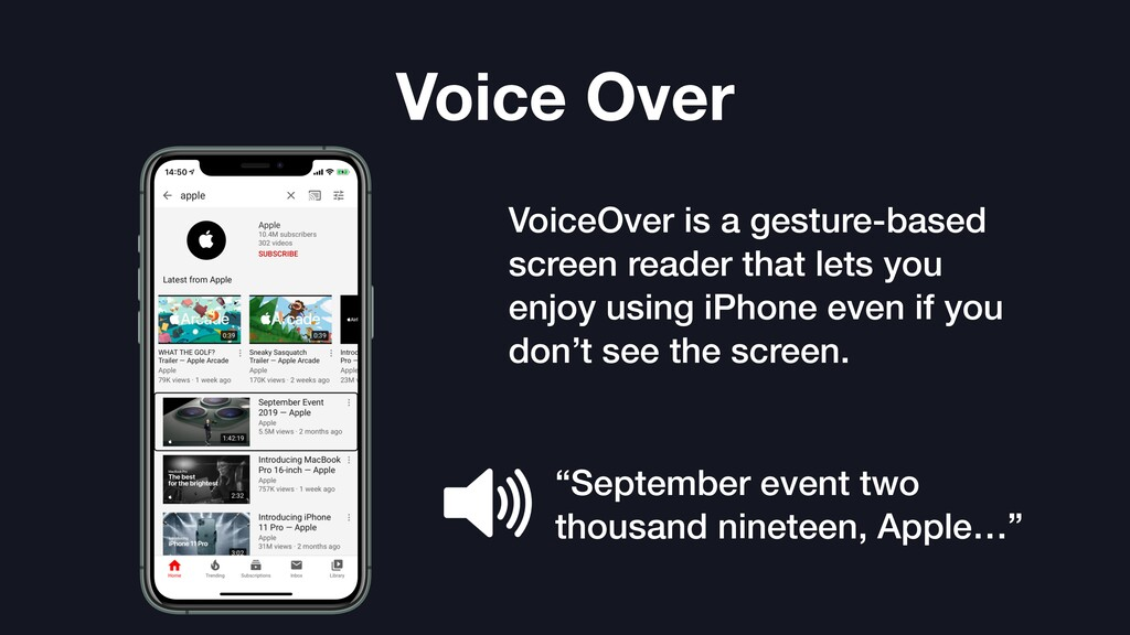 Voice Over VoiceOver is a gesture-based screen ...