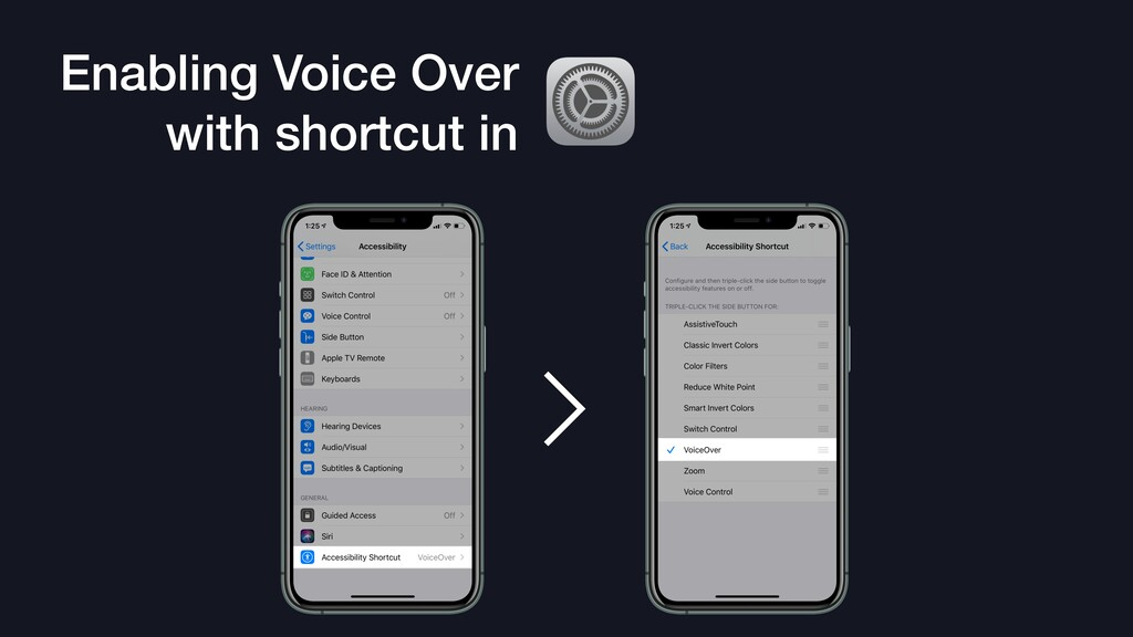 Enabling Voice Over with shortcut in