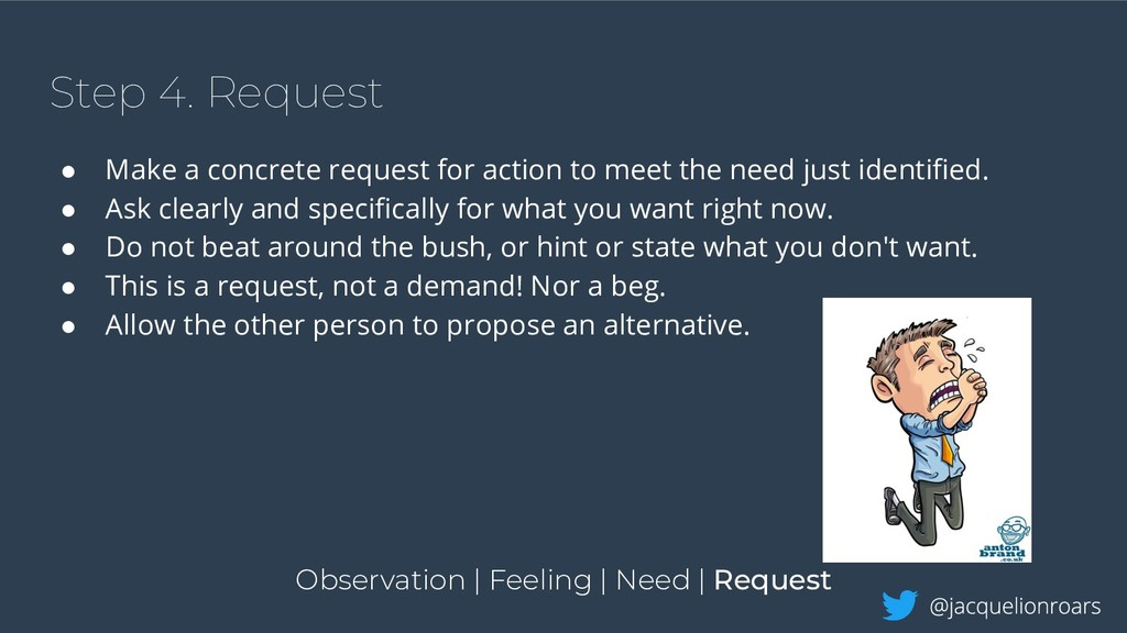Step 4. Request ● Make a concrete request for a...