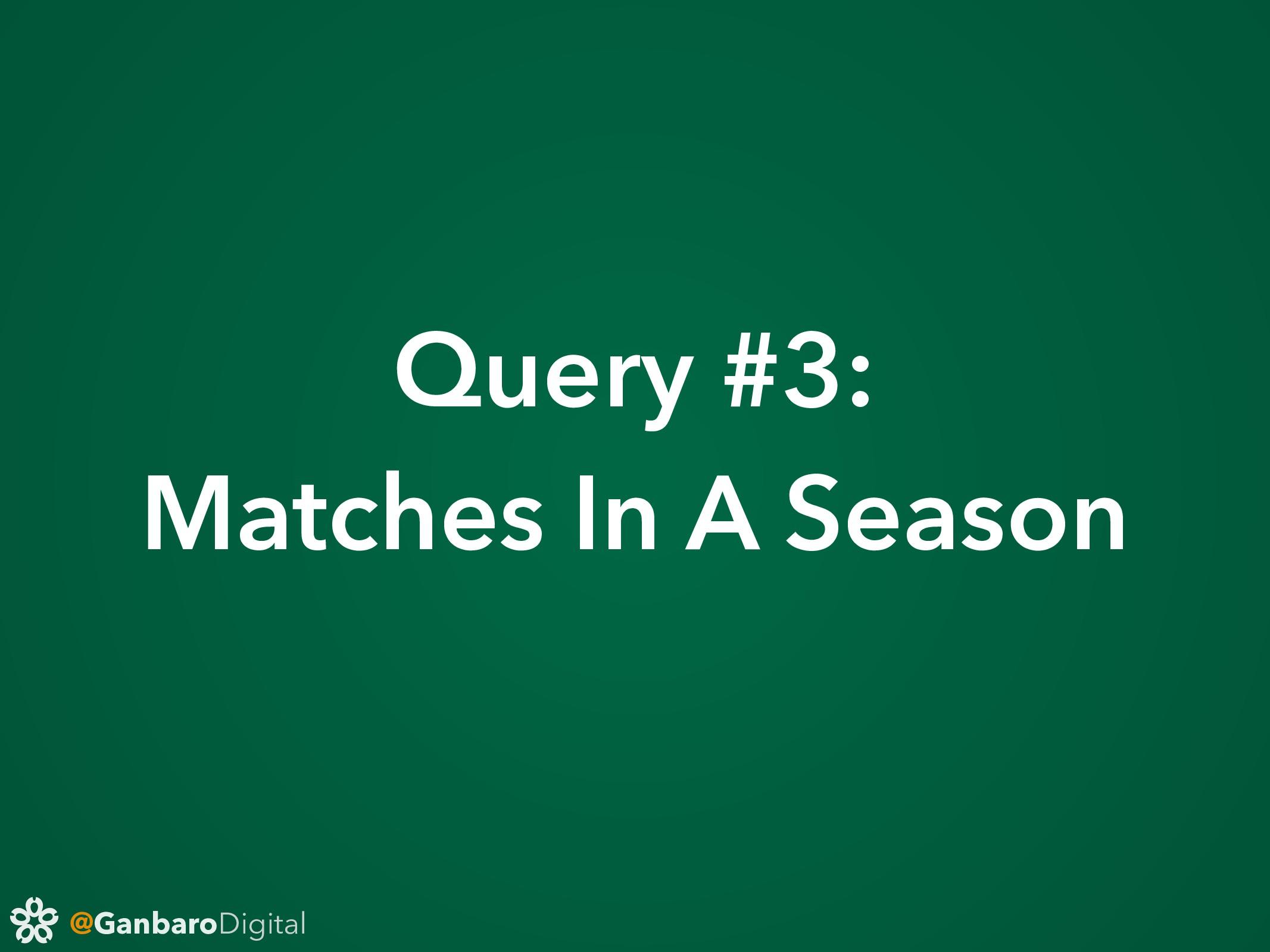 @GanbaroDigital Query #3: Matches In A Season