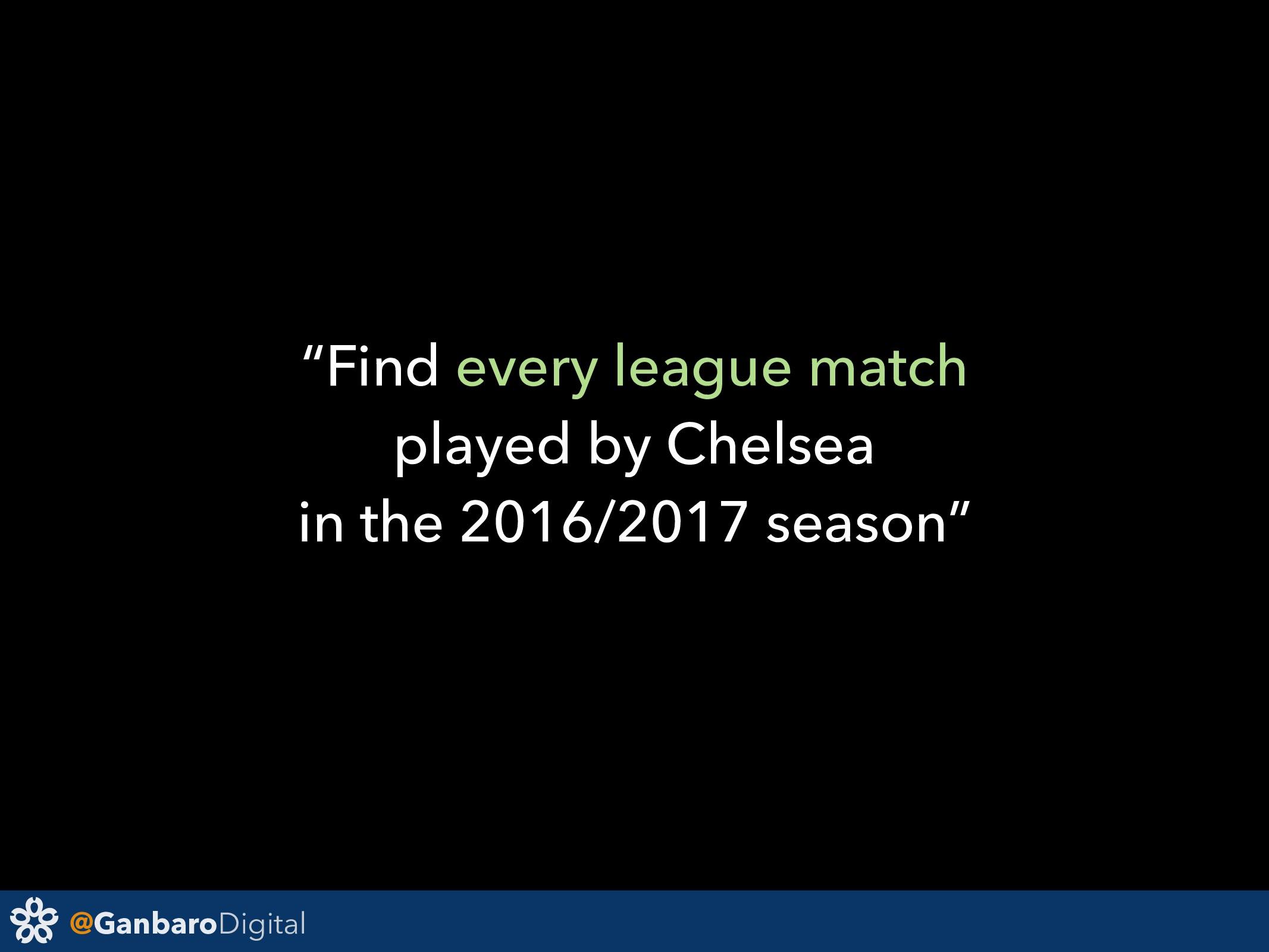 "@GanbaroDigital ""Find every league match played..."