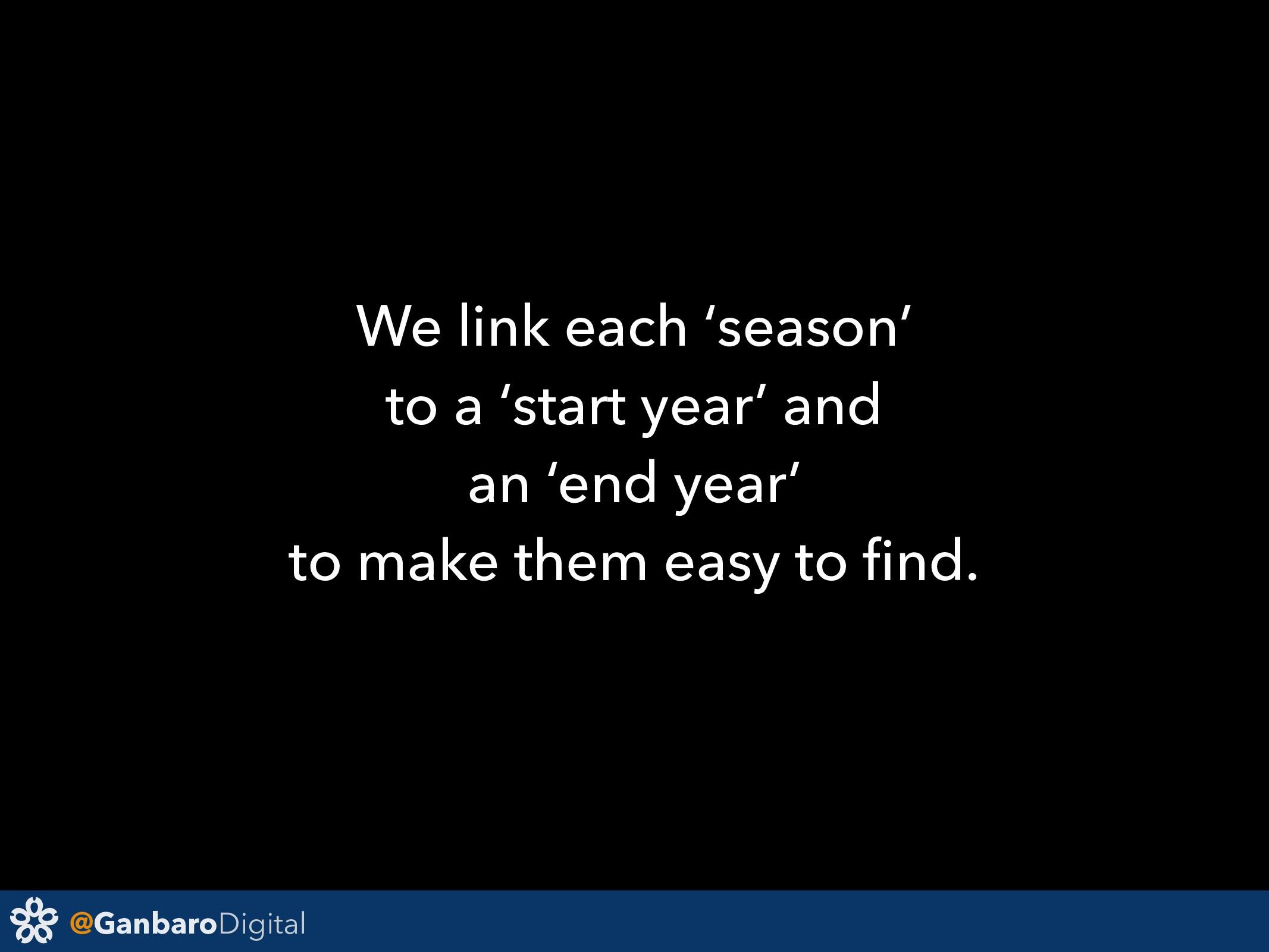 @GanbaroDigital We link each 'season' to a 'sta...