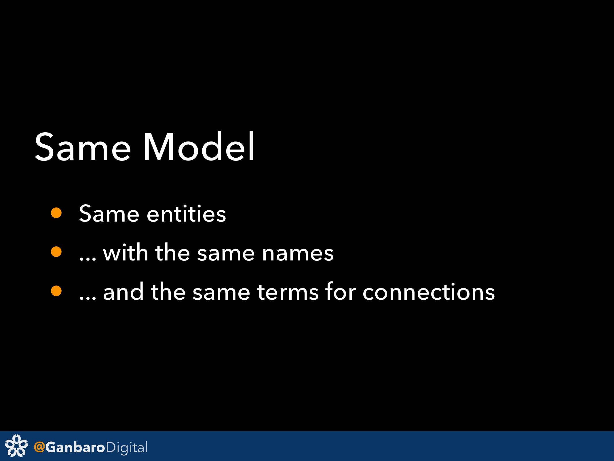 @GanbaroDigital Same Model • Same entities • .....