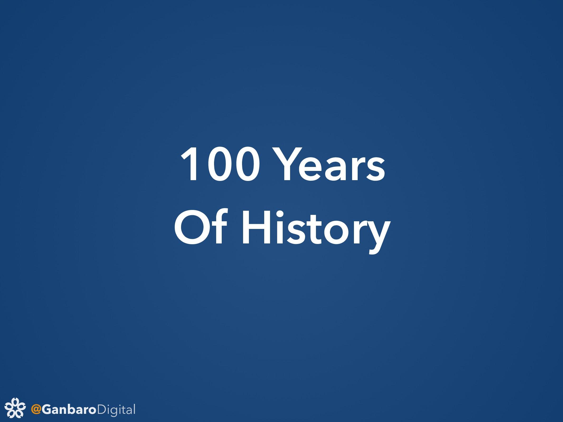 @GanbaroDigital 100 Years Of History