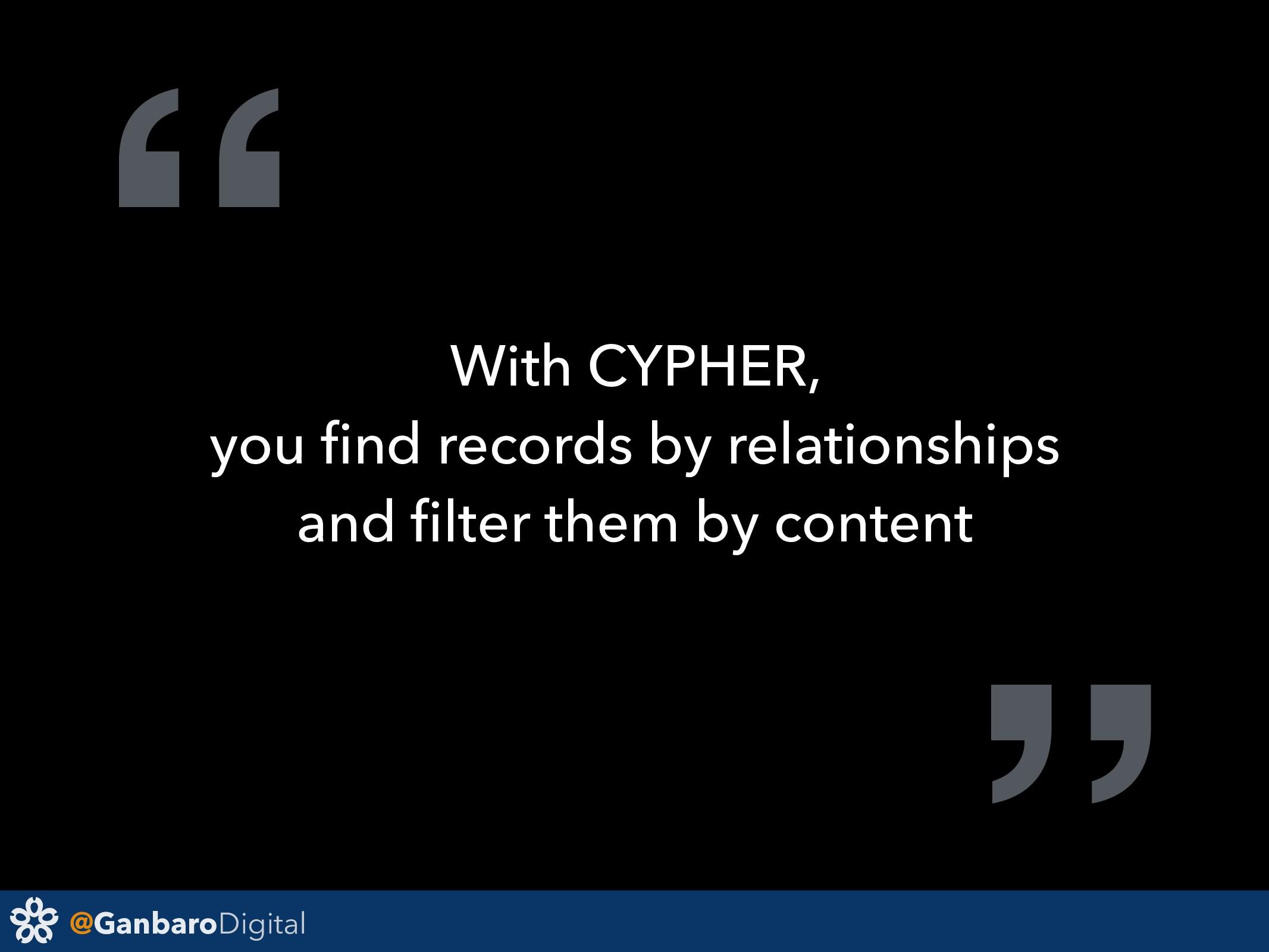 "@GanbaroDigital "" With CYPHER, you find records ..."