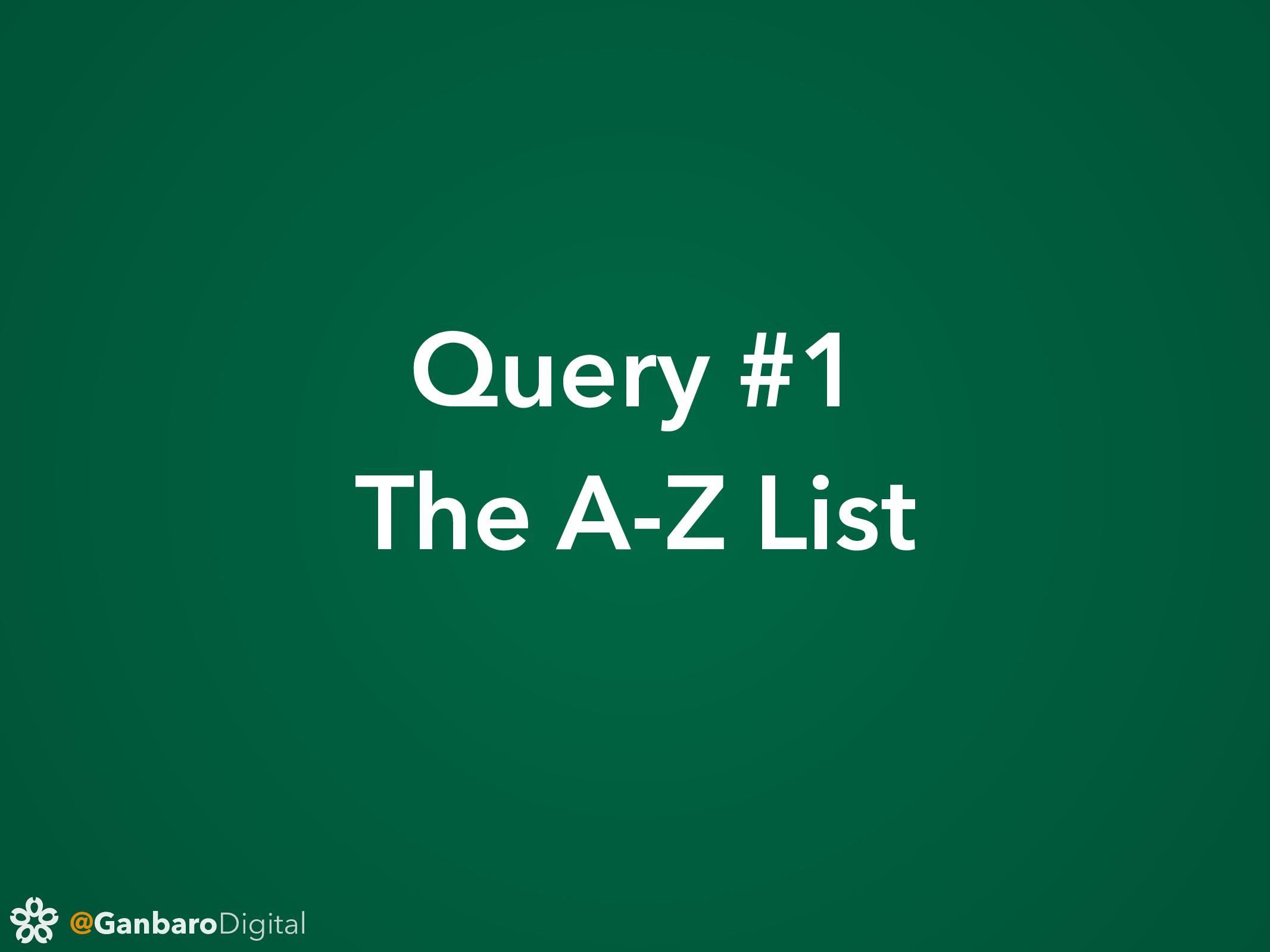 @GanbaroDigital Query #1 The A-Z List