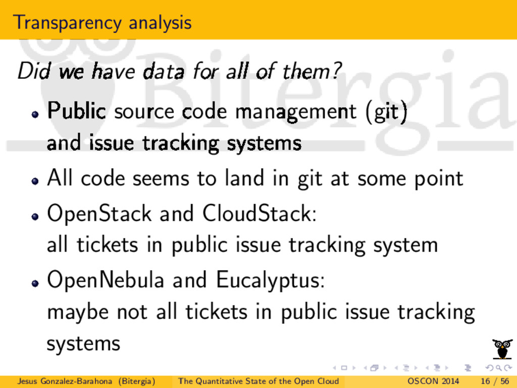 Transparency analysis Did we have data for all ...
